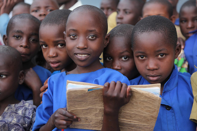 Happy African children at school.