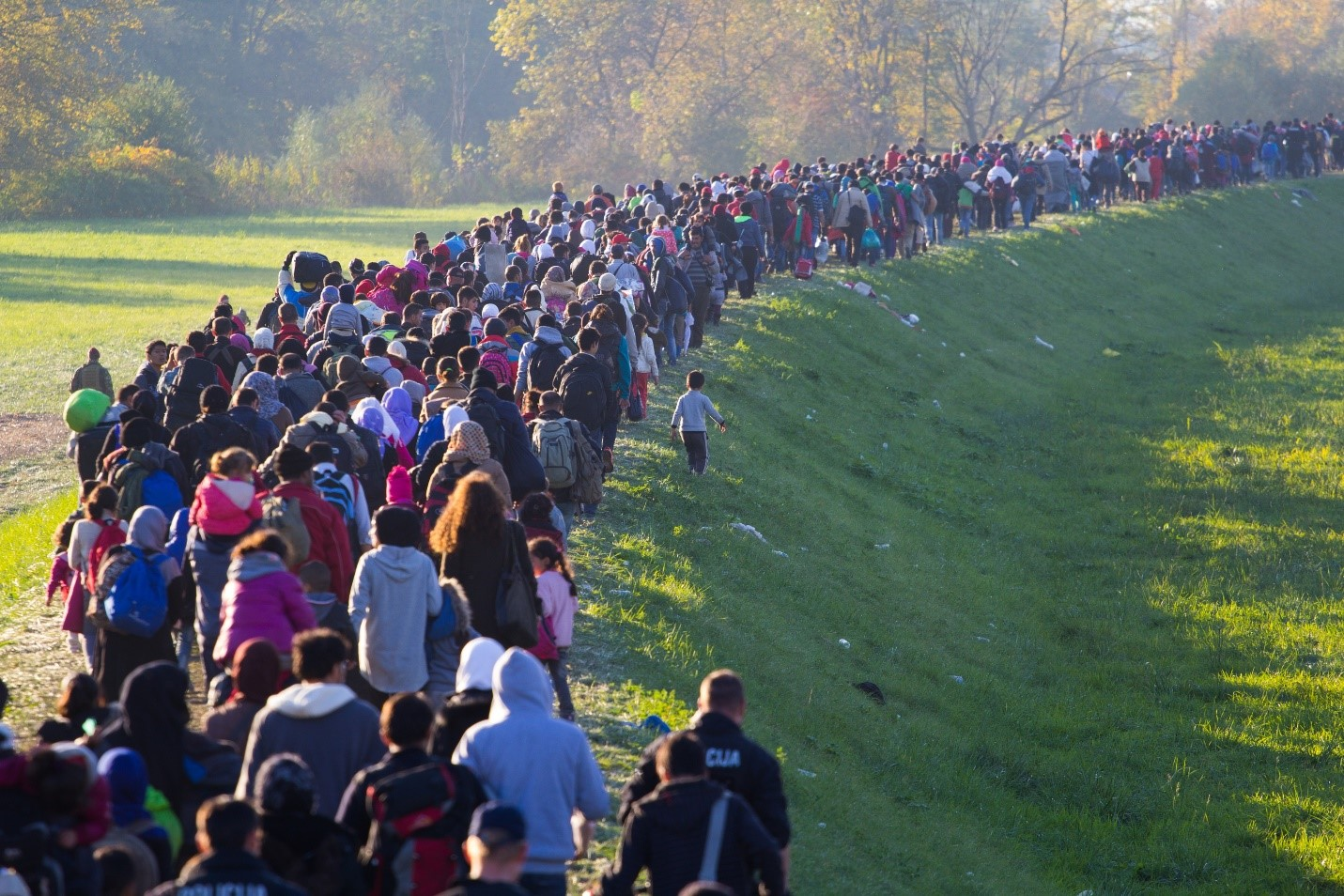 Hundreds of Slovenia refugee children and families travel together across a countryside on foot.