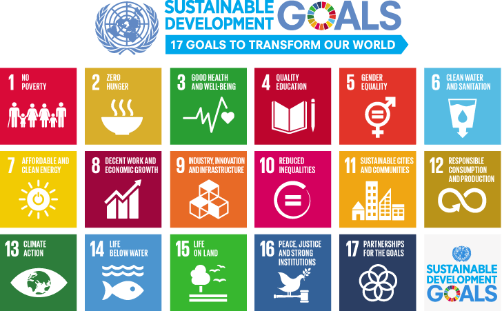 Multi-colored illustration: 2030 Sustainable Development Goals.