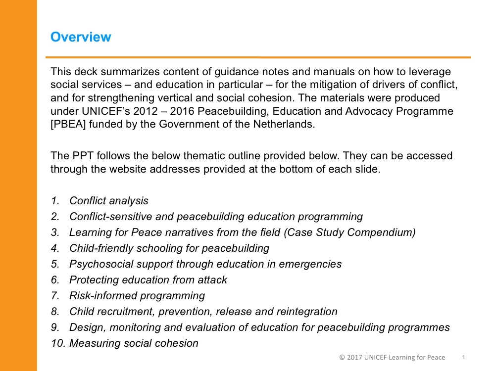 Manual & guidance note summaries | Early Childhood Peace Consortium