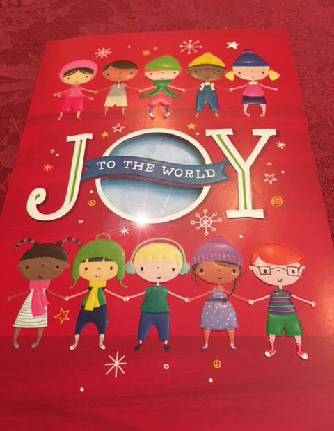 "UNICEF holiday greeting card ""Joy to the World"". Photo by Rima Salah."