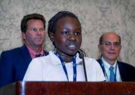11-year-old Lames, IRIS Refugee Ambassador resettled from Sudan, speaks at the ECPC Conference