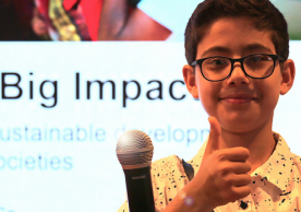 "Rehan Bigzad gives thumbs up at ""Small Asks for BIG Impact"" HLPF2019 event. Photo by Erica Wong."