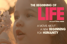 """The Beginning of Life"" documentary banner of young girl gazing at apple blossom."