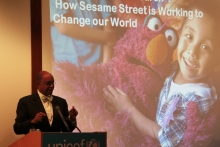 Sesame Workshop CEO Melvin Ming presents at the ECPC launch at UNICEF HQ, Sept. 2013.
