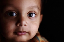 Two-year-old East Indian boy looks forward to a hopeful future.
