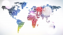 Multi-colored world peace map.