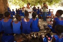 School girls in Sierra Leone engage in UNICEFs PBEA program.