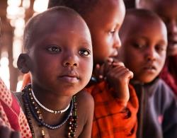 Portrait of Maasai school children in Tanzania.