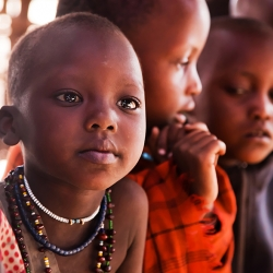 Maasai children in school in Tanzania, Africa.