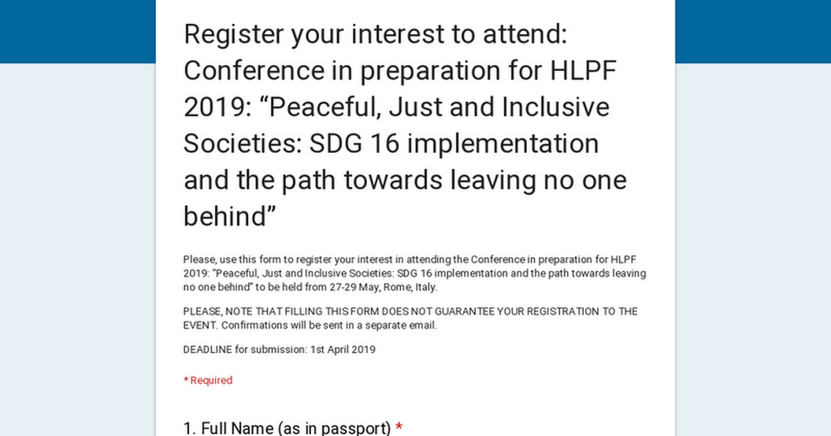 Register by 01 April | Conference in preparation for High