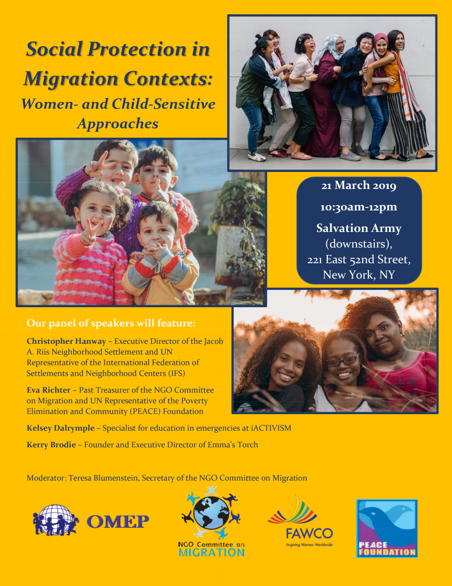 Social protection in migration contexts: Women- and child-sensitive